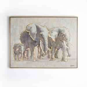 Elephant Family Framed Canvas