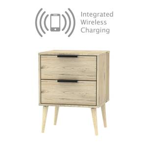 Tokyo 2 Drawer Bedside Table with Wireless Charging - Oak