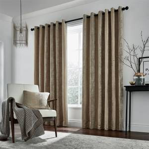 Peacock Blue Hotel Collection Roma Lined Curtains 66 x 54 - Truffle
