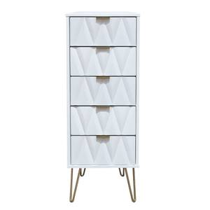 Ice 5 Drawer Bedside Table - White