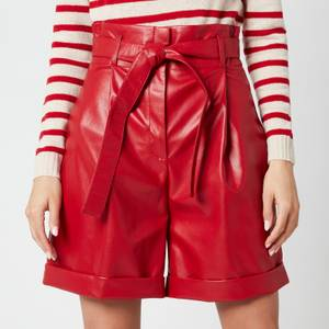 Philosophy di Lorenzo Serafini Women's Faux Leather Shorts with Bow Belt - Red