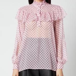 Philosophy di Lorenzo Serafini Women's Polka Dot Printed Chiffon Blouse - Pink