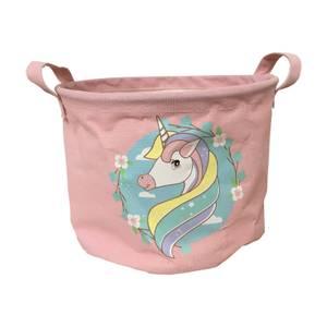 Large Fabric Toy Storage Basket - Unicorns