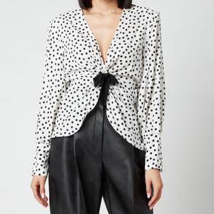 Philosophy di Lorenzo Serafini Women's Polka Dot Ruched Blouse with Bow Detail - White