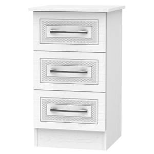 Milton 3 Drawer Bedside Table - White