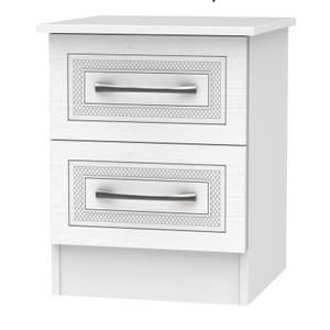 Milton 2 Drawer Bedside Table - White