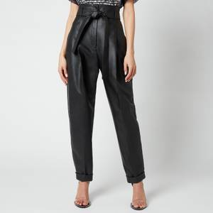 Philosophy di Lorenzo Serafini Women's Faux Leather Trousers with Bow Detail - Black