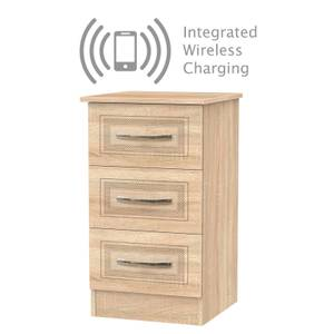 Milton 3 Drawer Bedside Table with Wireless Charging - Oak