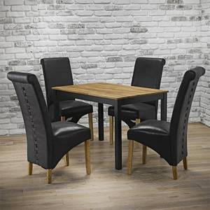 Copenhagen 4 Seater Dining Set - Treviso Dining Chairs - Black