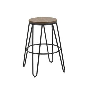 Ikon Wood Seat with Black Legs Bar Stool