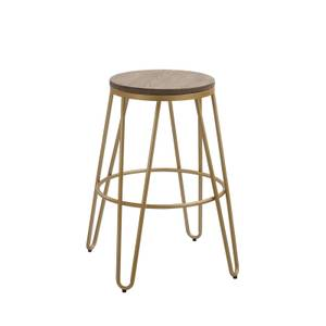 Ikon Wood Seat with Gold Legs Bar Stool