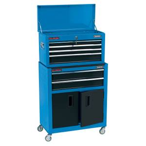 Draper 24 Inch Roller Cabinet & Tool Chest - 6 Drawer - Blue