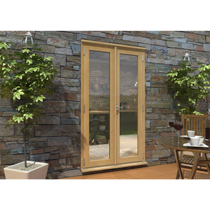 Rohden French Door Set 1200mm - Unfinished Oak