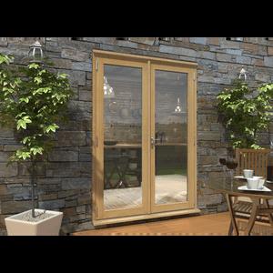 Rohden French Door Set 1500mm - Unfinished Oak