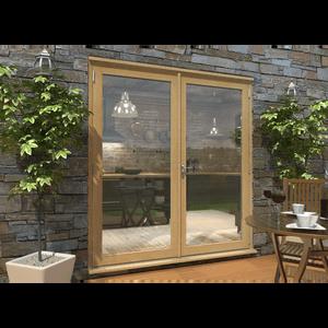 Rohden French Door Set 1800mm - Unfinished Oak
