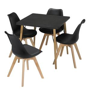 Mercer 4 Seater Dining Set - Louvre Dining Chairs - Black