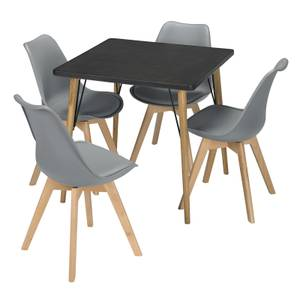 Mercer 4 Seater Dining Set - Louvre Dining Chairs - Grey