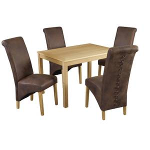 Oakridge 4 Seater Dining Set - Treviso Dining Chairs - Brown