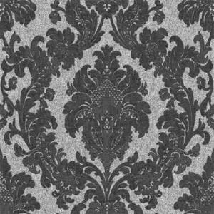 Belgravia Decor San Remo Damask Embossed Metallic Black Wallpaper