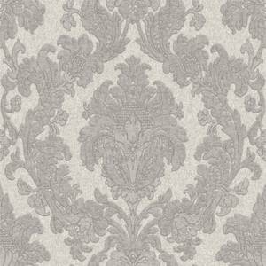 Belgravia Decor San Remo Damask Embossed Metallic Smoke Grey Wallpaper