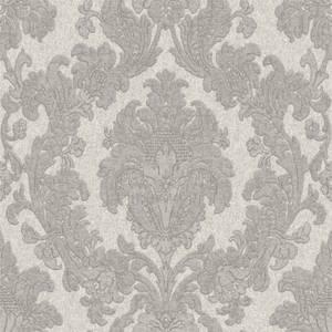 Belgravia Decor San Remo Damask Embossed Metallic Smoke Grey Wallpaper