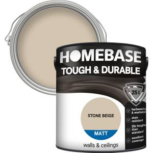 Homebase Tough & Durable Matt Paint - Stone Beige 2.5L