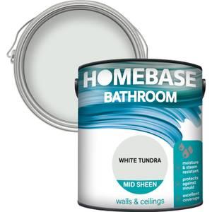 Homebase Bathroom Mid Sheen Paint - White Tundra 2.5L