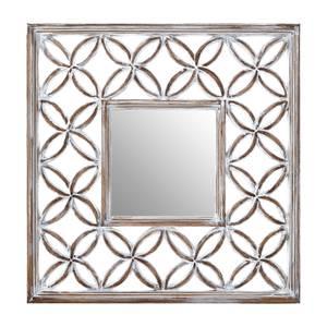 Antique Lattice Frame Wall Mirror - White