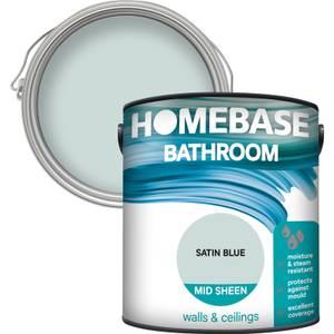 Homebase Bathroom Mid Sheen Paint - Satin Blue 2.5L