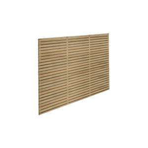 6ft x 5ft (1.8m x 1.5m) Pressure Treated Contemporary Double Slatted Fence Panel - Pack of 4