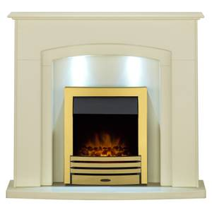 Adam Falmouth in Cream with Downlights & Eclipse Electric Fire in Brass