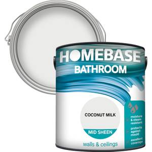 Homebase Bathroom Mid Sheen Paint - Coconut Milk 2.5L