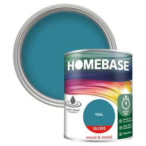 Homebase Interior Quick Dry Gloss Paint - Teal 750ml