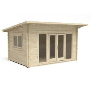 Forest Melbury 4.0m x 3.0m Log Cabin Double Glazed 24kg Polyester Felt, Plus Underlay