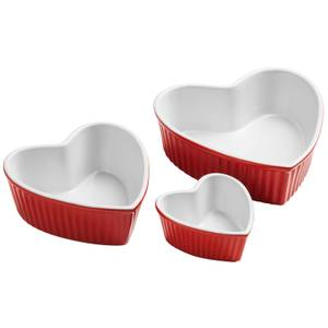 Amour Stoneware Heart Shape Dishes - Red
