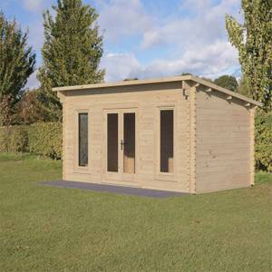 Forest Elmley 5.0m x 3.0m Log Cabin Double Glazed 24kg Polyester Felt, No Underlay