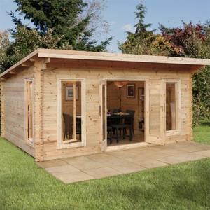 Forest Mendip 5.0m x 4.0m Log Cabin Double Glazed, 24kg Polyester Felt, Plus Underlay