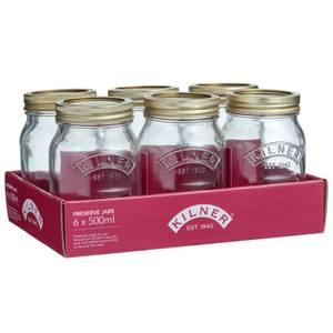 Kilner Screw Top Round Jars - Pack of 6 - 500ml