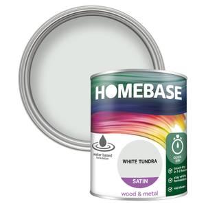 Homebase Interior Quick Dry Satin Paint - White Tundra 750ml