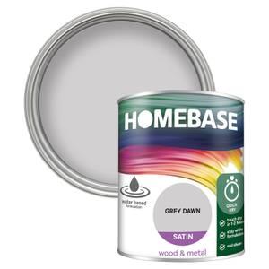 Homebase Interior Quick Dry Satin Paint - Grey Dawn 750ml