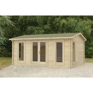 Forest Rushock 5.0m x 4.0m Log Cabin Double Glazed 24kg Polyester Felt, Plus Underlay
