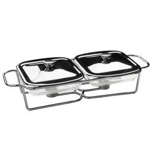 Glass Dish Twin Food Warmer - 1L