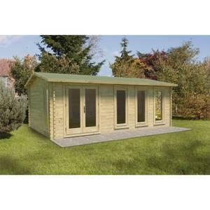 Forest Blakedown 6.0m x 4.0m Log Cabin Double Glazed Felt Shingles, Plus Underlay