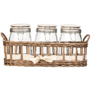 Country Cottage Glass Storage Jars - Set of 3