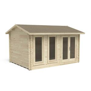 Forest Chiltern 4.0m x 3.0m Log Cabin Double Glazed with Felt Shingles and Underlay
