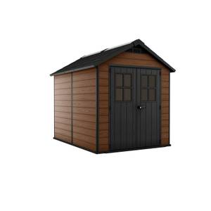Keter Newton 7.5x9ft Outdoor Plastic Garden Storage Shed - Brown