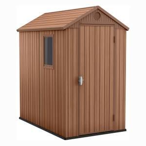Keter Darwin 6 x 4ft Outdoor Garden Apex Storage Shed - Brown