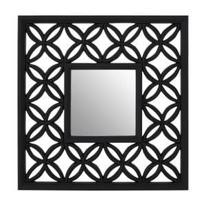 Square Black Lattice Frame Wall Mirror