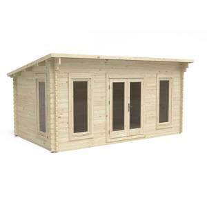 Forest Elmley 5.0m x 3.0m Log Cabin Double Glazed 24kg Polyester Felt, Plus Underlay
