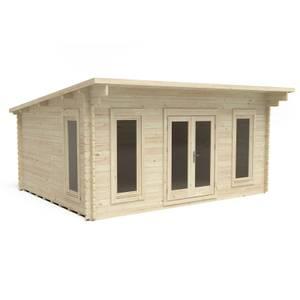 Forest Mendip 5.0m x 4.0m Log Cabin Double Glazed, 24kg Polyester Felt, No Underlay